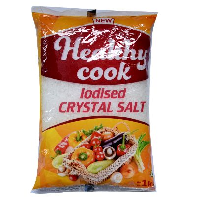 Picture of Healthy Cook Iodised Crystal Salt, 1 kg Pouch (Raalla uppu / Kalluppu)